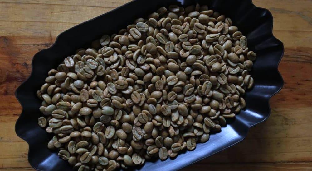 coffee beans on a purple platter