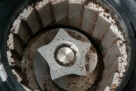 Top view of a burr grinder