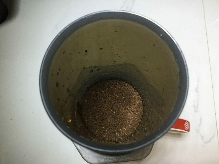 ground coffee inside of the AeroPress