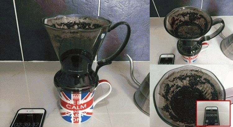 draing coffee from the Clever Dripper