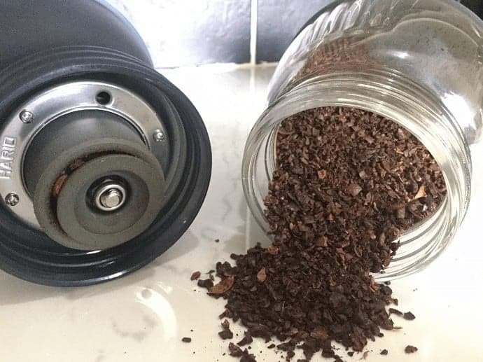 Coarsely ground coffee in a glass jar