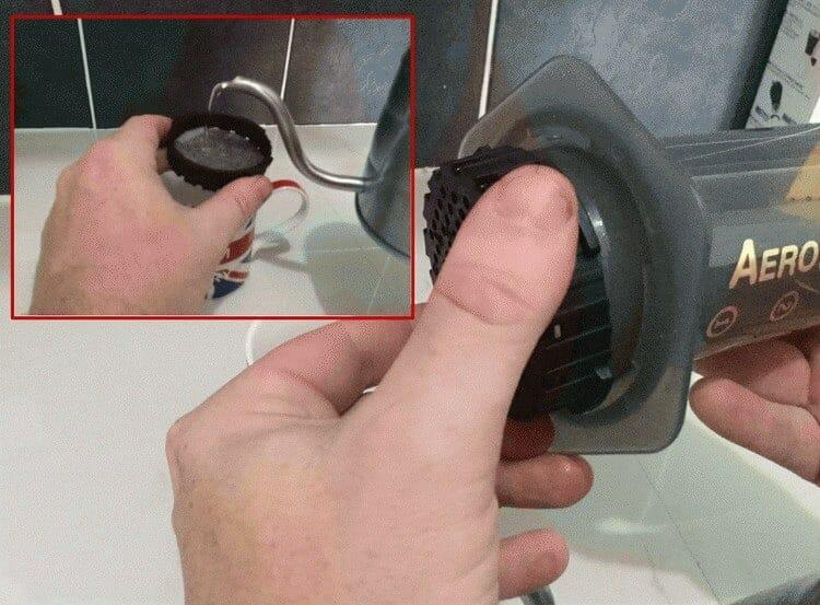 screw cap on the AeroPress