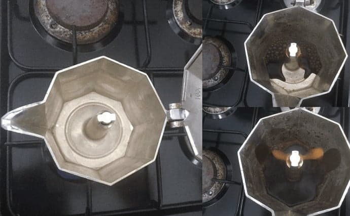 Top view of the Moka Pot brewing coffee