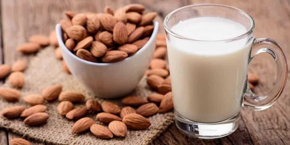 Milk and Almonds on a table