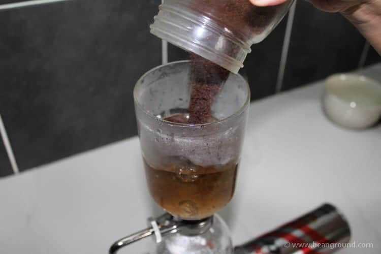 add your freshly ground coffee