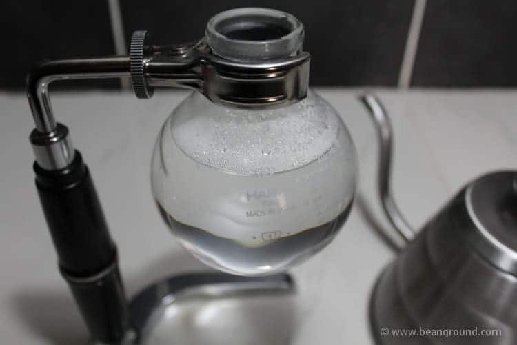 fill water up to the line on the glass rim