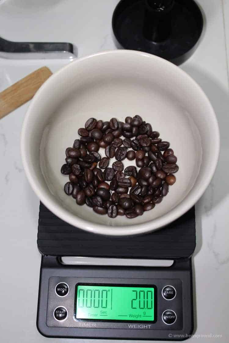 weigh out your coffee beans