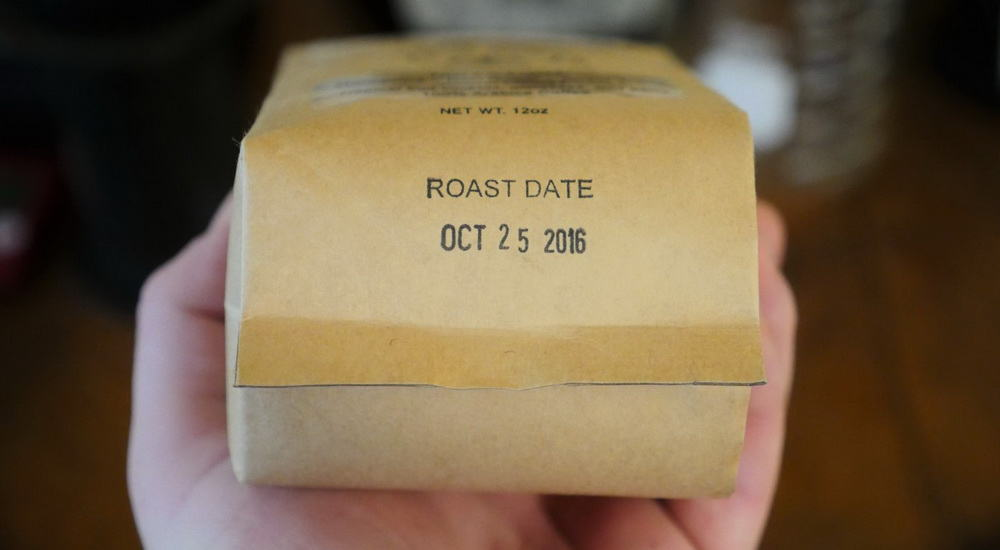 Bag showing coffee roast date