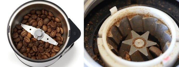image of a blade and burr grinder side by side