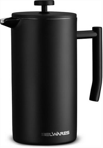 Belwares Double Wall Black Stainless Steel French Press