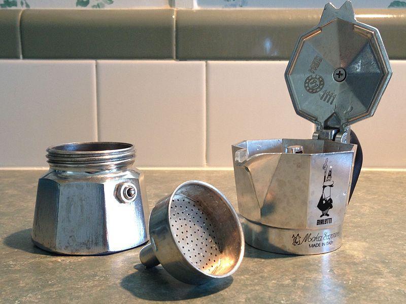 sections of a Stovetop Espresso Maker (Moka Pot)